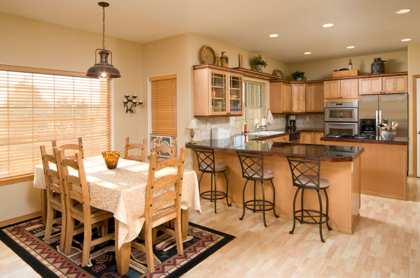 Combining your kitchen and dining room for Kitchen with dining room designs